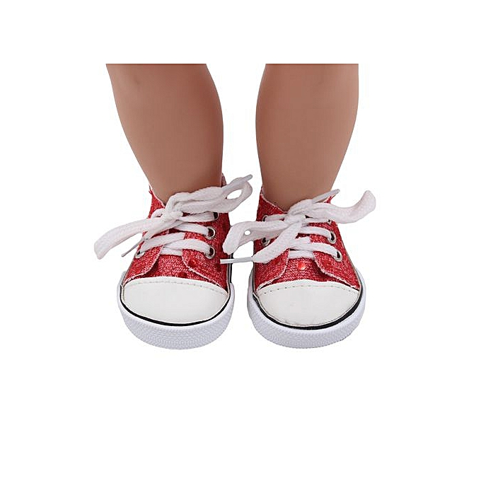 f2731d1efde53 Braveayong Glitter Doll Shoes Canvas Shoes For 18 Inch Our Generation  American Girl Doll -Red