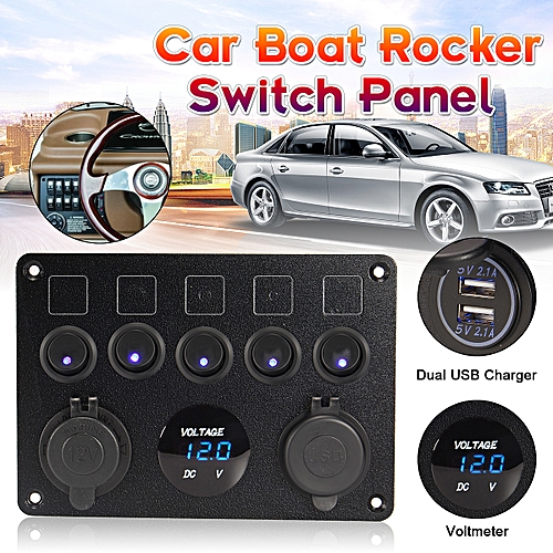 Fuse LED Rocker Switch Panel Dual USB Charger Voltmeter Socket Boat Fuse Box Usb Car Charger on