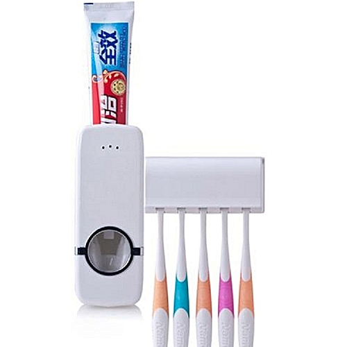 Automatic Toothpaste Dispenser and 5 Toothbrush Holder Set - white