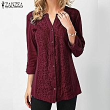 ZANZEA Women Plus Size Button Down Shirt Floral Lace Top Loose Tunic Blouse