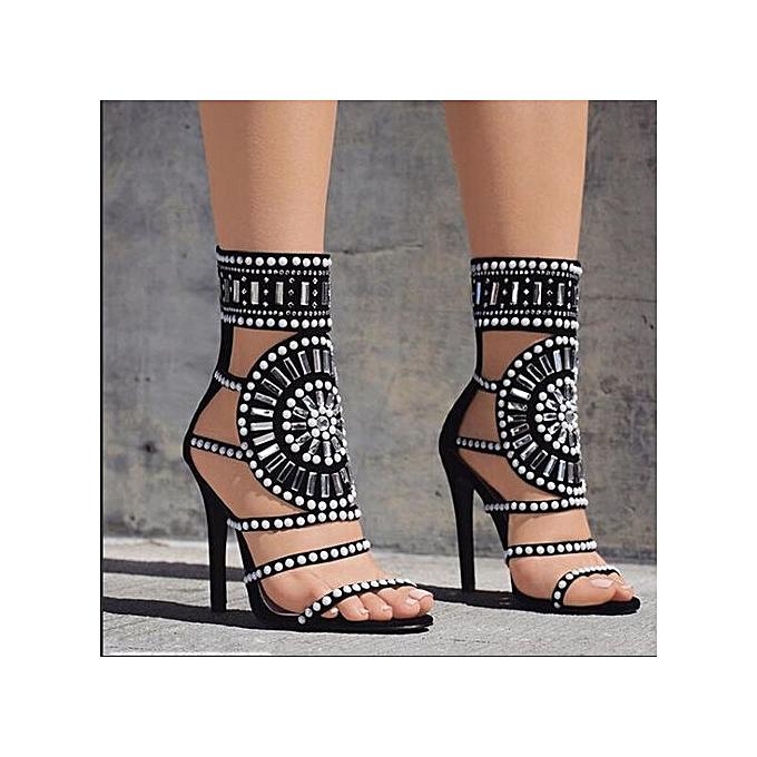 fdd07cd3961 Xingbiaocao Women Fashion Stick A Drill Sandals Exotic High Heels Summer  Luxury Dress Shoes -Black