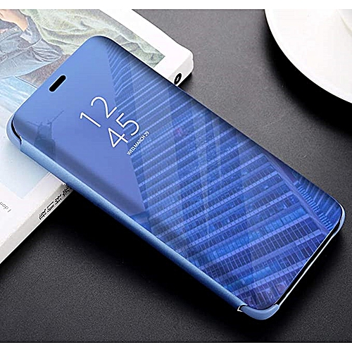 new product 33bf3 db7ef Xiaomi Redmi Note 6 Pro/Note 6 Leather Case Cover With Plating Mirror And  Flip Stand Function-Blue