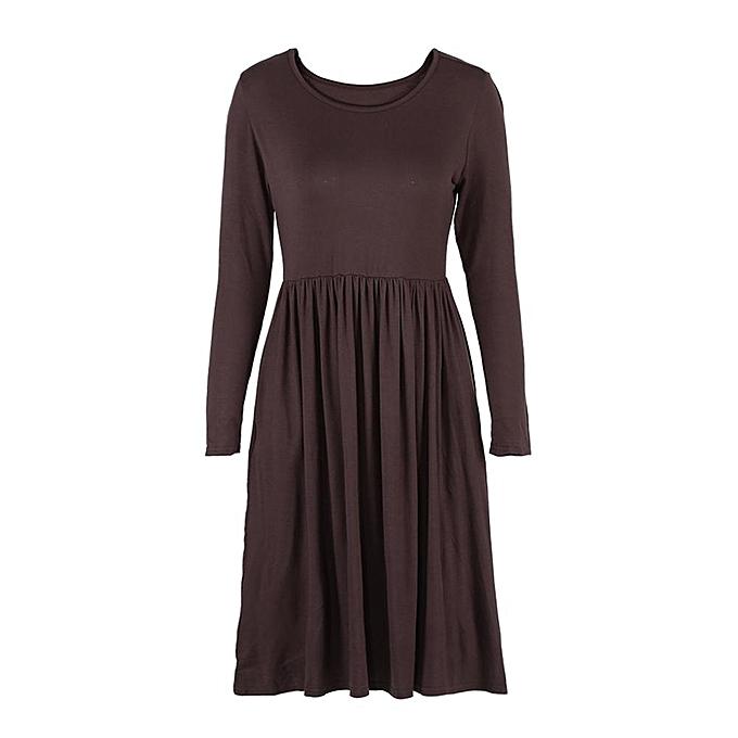 9ad3486ea232 Fashion Fashion Women Long Sleeve Dresses Pleated Swing Dress With ...