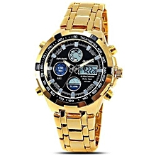 Watches, QUAMER 165 Waterproof Watches Led Electronic Digital Watch Stainless Steel Band Men Wristwatch - Gold