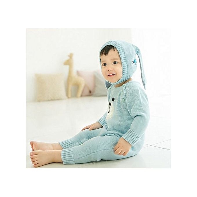 814b161f32f Generic Baby Beanie For Boys Girls Cap Cotton Rabbit Ear Knitted Children  Hats -Blue