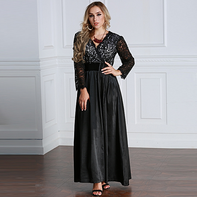 Fashion Women Plus Size Lace Long Sleeve Maxi Dress V Neck Satin Waist Party Evening Prom Dress Gown Black