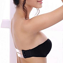 Strapless Gather Push Up Bra Invisible Transparent Clear Back