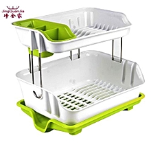 2 tier Dish Drainer Drying Rack Green