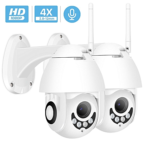 1080P Wifi IP Camera Outdoor Two Way Audio PTZ 5X Optical Zoom Night Vision  IR 60M Wireless Security Speed Dome Camera P2P(2 X 1080P NO SD Card)