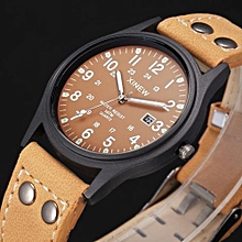 Blicool Wrist Watch Vintage Classic Men's Waterproof Date Leather Strap Sport Quartz Army Watch BW-brown