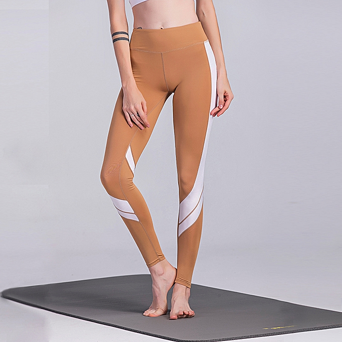c9e830a640f Women Sports Yoga Pants Leggings Color Block Gym Fitness Workout Tights  Trousers Skinny Leggings Brown/
