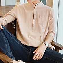 Slim Formal Shirts Men Short Sleeve Business Shirts (Khaki)