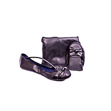 Black Foldable Leather Doll Shoes With Pouch