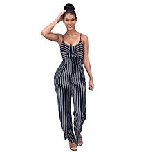 jiuhap store Womens Clubwear Strappy Striped Playsuit Bandage Bodysuit Party Jumpsuit -Navy