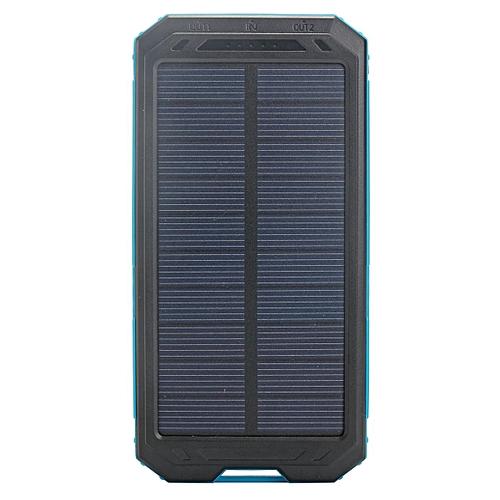 Power Bank 300000mAh Portable Dual USB Waterproof Solar Charger Case No Battery # Blue