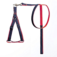 Home-Dog Pet Harness Strap Soft Breathable Denim Nylon Leash Fashion Walking red
