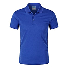 Pure Color Fashion Casual Men's Summer B Short Sleeves Polo Shirts-Blue