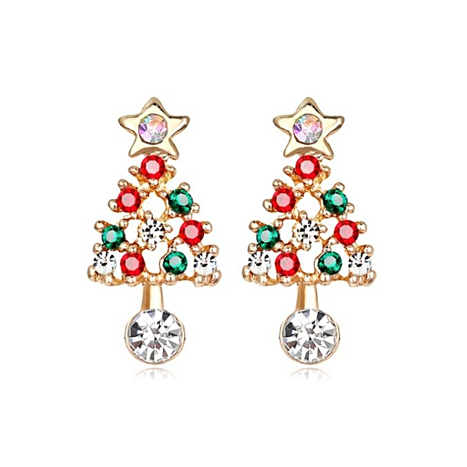 Christmas Earrings Fashion Alloy Diamond Tree Women S Jewelry