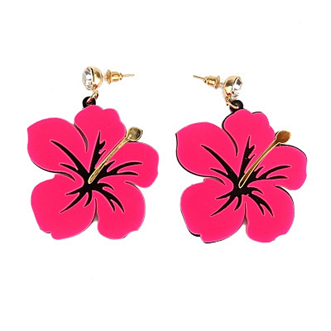 1pair Women Fashion Retro Neon Earrings Flower