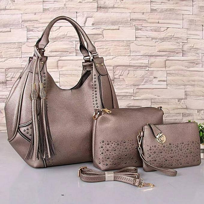 d5554dbf9b39 Generic Grey 3-in-1 Leather Ladies Handbags   Best Price
