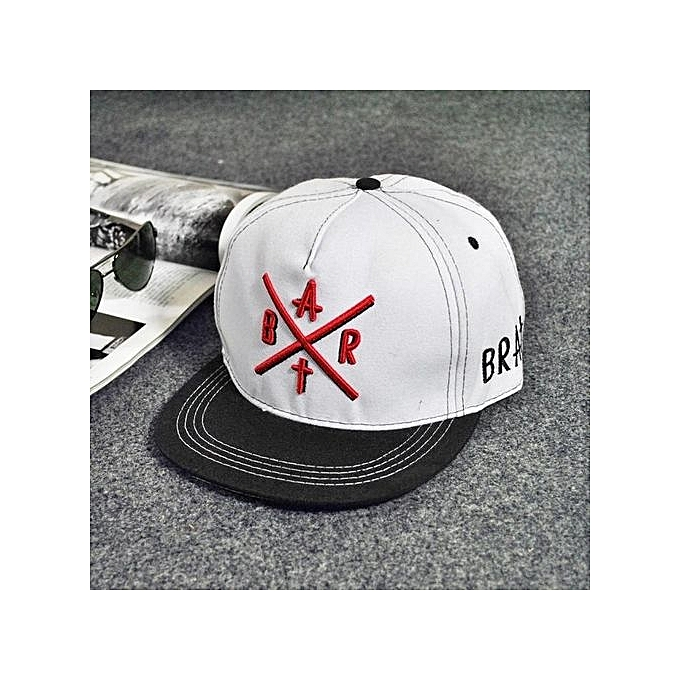 Fashion Embroidery Snapback Boy Hiphop Hat Adjustable Baseball Cap Unisex  White a50cc6c650