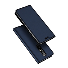 Nokia X6 Leather Case, Pu Leather Flip Wallet Case Cover For Nokia X6 With Stand Function And Card Slot - Blue.