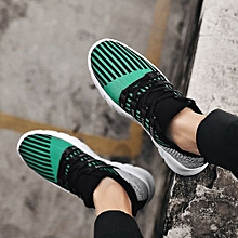 Design Style Summer Fashion Mesh Men's Loafers Sneaker Running Lacing Casual Sports Shoes-Green