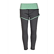 Ladies 2 in 1 running sports pants with short - grey
