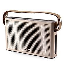 PINSHOW Goldentime Cowhide Strap Portable Bluetooth 4.0 Wireless Speaker Support Power Bank Function-GOLDEN