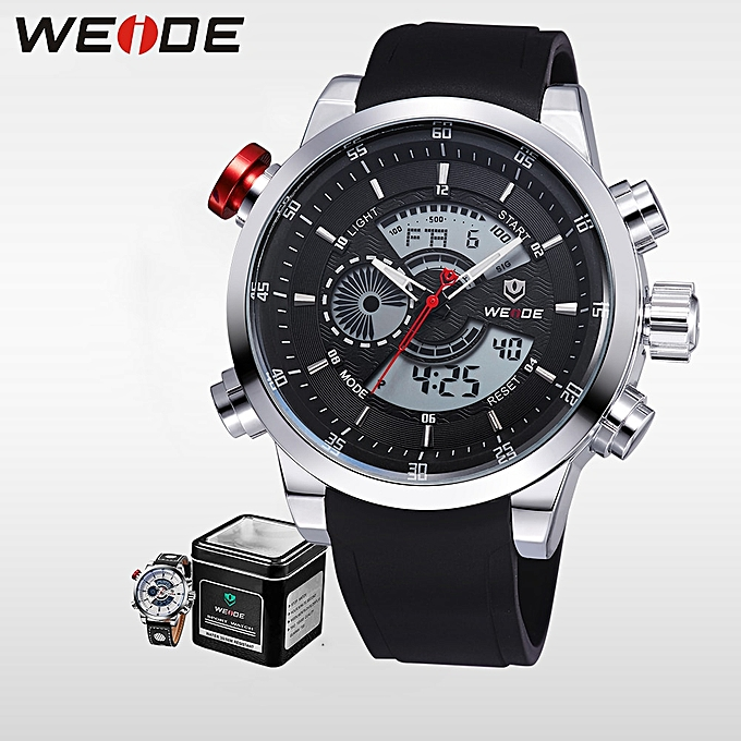 ddcec89c52 Quartz Sports Wrist Watch Casual Genuine Mens LCD Analog Digital Dual Time  Watch Black Waterproof Watches Gifts