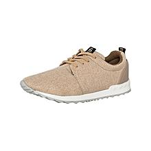 Beige Men's Fabric Sneakers