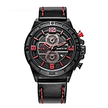 93009 Man Fashion Luxury Brand Casual Genuine Leather Watches Reloj Date Calendar Water Resistant Sports Military Men Watches - Black