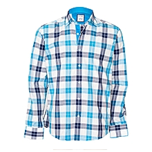 Cyan Checked Shirt With A Pocket Square
