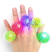 5PCS LED Flashing Elastic Rubber Blinking Strawberry Finger Ring Decoration Toys-