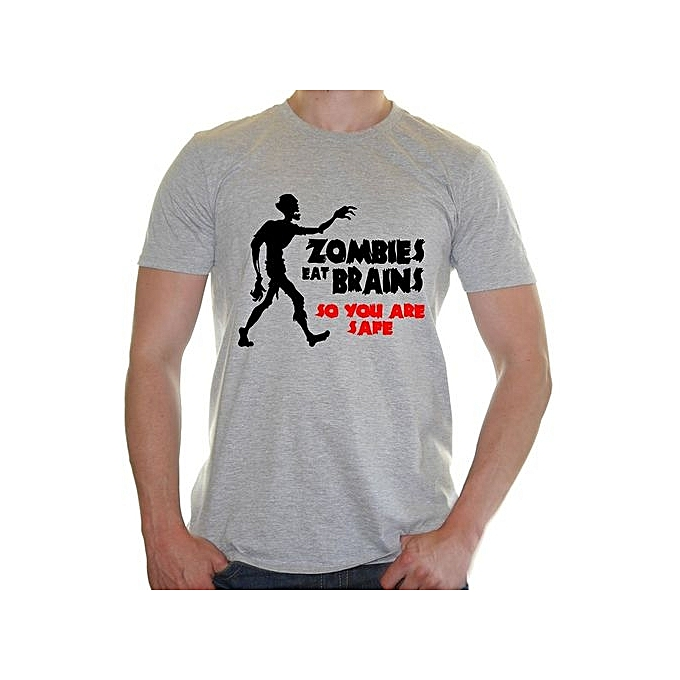 2064fd176152 Fashion Zombies Eat Brains So You Are Safe Funny Men's Fashion T ...