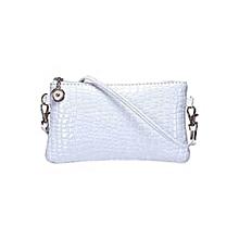Alligator Pattern Crossbody Bag - White