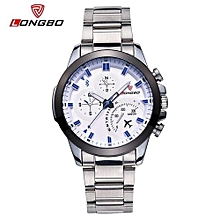 80228 Stainless Steel Band Military Man Sports Quartz Watches Fashion Casual Dial Clock For Men Dynamic Dial Watch - White