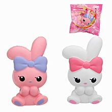 Jumbo Bowknot Rabbit Squishy Slow Rising House Play Toy 8*6*13cm With Packing Bag -Pink