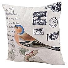 Unisex Oriole Postcard Square Linen Pillow - White