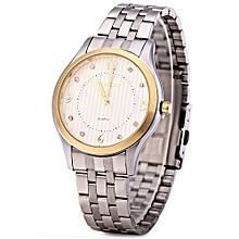 W00117 Men Steel Rhinestone Quartz Watch with Luminous Pointers-WHITE