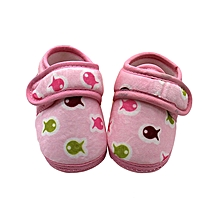 Toddler Newborn Baby Shoes Fish Print  Soft Sole Antiskid Prewalker Warm Shoes - Pink