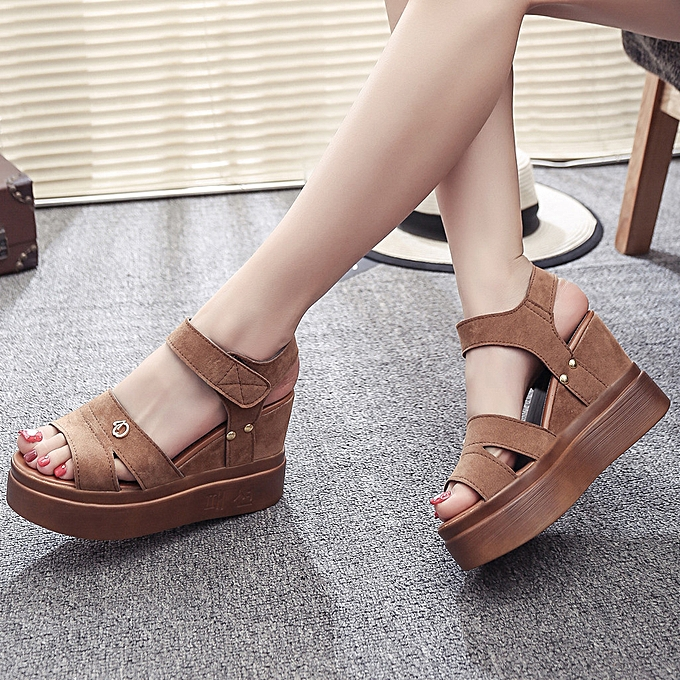 6fc3c8758bf Yingwaias Summer Women  Sandals Wedges Shoes Fish Mouth Shoes Thick Bottom  Roman Sandals-Multi