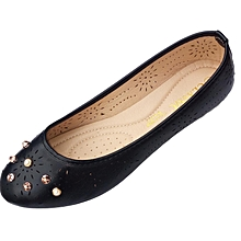 Women PU Leather Doll Shoes - Black