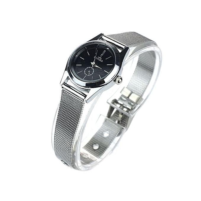 ... Black Dial Stylish Couple Lover Stainless Steel Quartz Wrist Watch Women ...