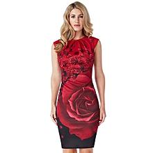 Red Pleated Neck Midi Dress