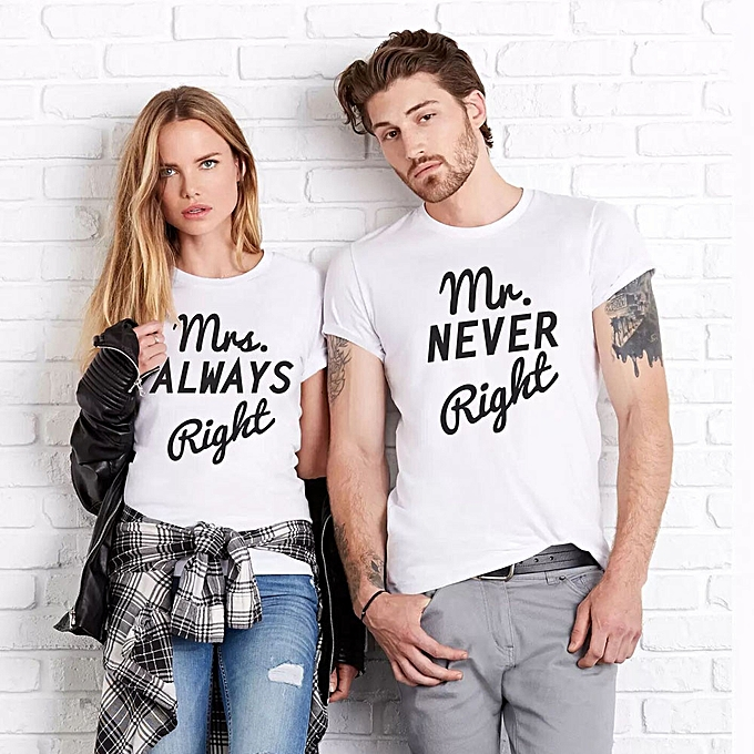 2d7a714a4b8 jiuhap store MR Never Right White Men T-Shirt Short Sleeve Casual Shirts Couple  Tops