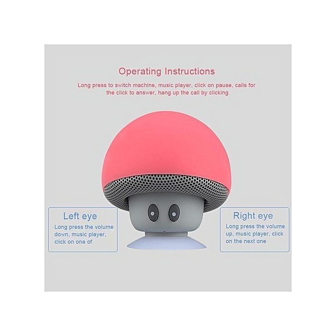 Mini Mushroom Wireless Bluetooth Speaker Portable Waterproof Shower Stereo  Subwoofer Music Player For iPhone Mobile Phone(Red)