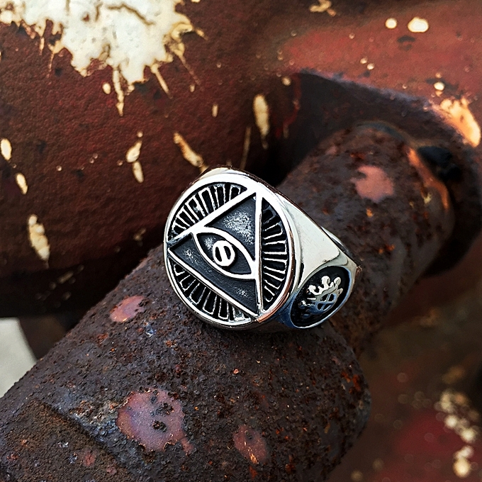 Ring For Men 316L Stainless Steel Gold Silver Color Illuminati Pyramid Eye  Ring Hip Hop Jewelry Accessories