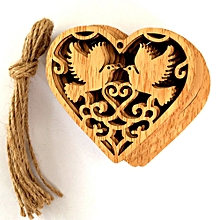 10 Pcs Rustic Wooden Love Heart Hanging Pendant Home Decor Gifts DIY Crafts