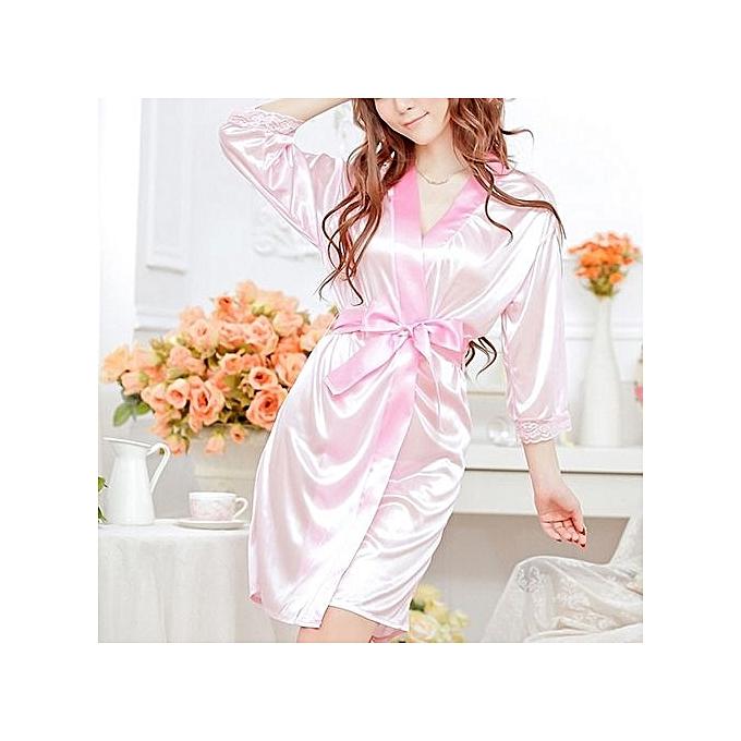 6da7533c1e Women Fashion Fantastic Sexy Wild Temptation Lace Sleepwear Bathrobe + G- string-Pink ...